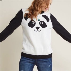 ModCloth Panda Bear Face Knit Sweater